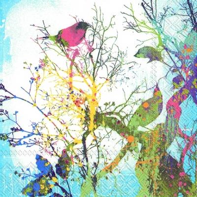 IHR Ideal Home Range,  Tiere - Vögel,  Blumen -  Sonstige,  Everyday,  lunchservietten,  Vögel,  Zweige,  Blumen
