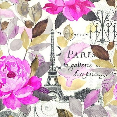 Serviettes de table 33x33 cm - JARDIN PARIS rose