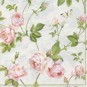 20 Servietten - 33 x 33 cm RAMBLING ROSE cream                     ,  Blumen,  Blumen -  Sonstige,  Blumen - Rosen,  lunchservietten,  rosa und weiße Rosen auf crem Hinetgrund,  weißer Schmetterling,  goldener Randstreifen