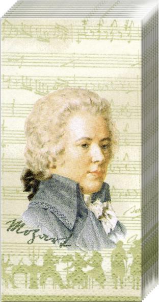 Taschentücher MOZART cream                            ,  Sonstiges,  Everyday,  bedruckte papiertaschentücher,  Mozart