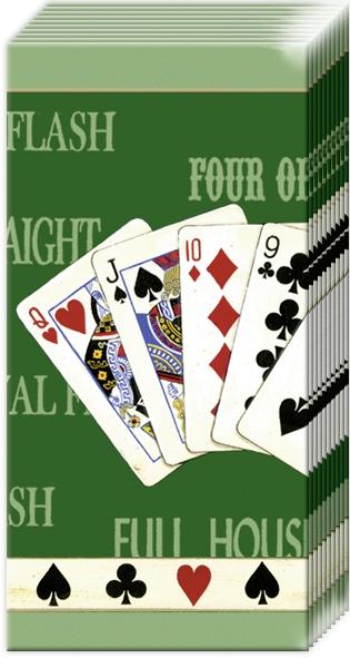 10 bedruckte Taschentücher FULL HOUSE green                        ,  Sonstiges,  Everyday,  bedruckte papiertaschentücher,  Kartenspiele