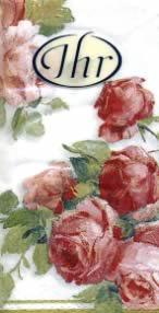 Taschentücher VICTORIA white                          ,  Blumen,  Everyday,  bedruckte papiertaschentücher,  Rosen