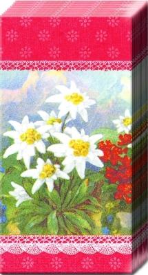 Taschentücher ALPENGLÜHEN red,  Regionen,  Blumen,  Everyday,  bedruckte papiertaschentücher,  Blumen