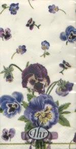 Taschentücher VIOLAS cream                            ,  Blumen,  bedruckte papiertaschentücher,  Stiefmütterchen