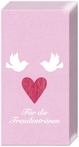 Taschentücher FREUDENTR?NEN,  Sonstiges,  Everyday,  bedruckte papiertaschentücher,  Liebe,  Herz,  Tauben