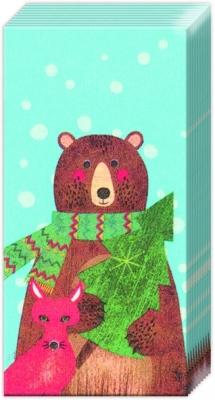 Taschentücher WOODLAND HOLIDAY light blue,  Weihnachten,  bedruckte papiertaschentücher,  Teddybär