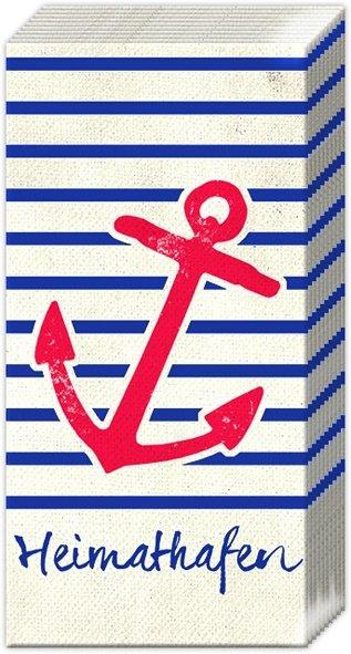 Taschentücher HEIMATHAFEN red,  Regionen - Strand / Meer,  Everyday,  bedruckte papiertaschentücher,  Anker