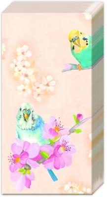 Taschentücher PARAKEETS apricot,  Tiere,  Everyday,  bedruckte papiertaschentücher,  Papagei