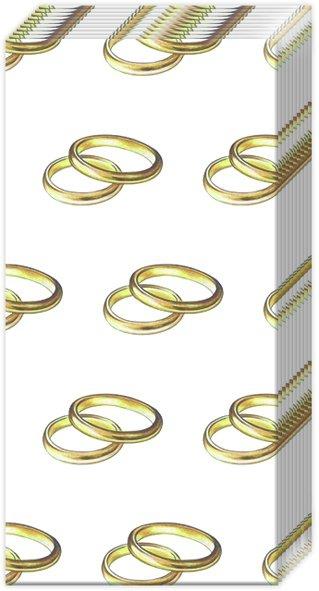 Taschentücher RINGS gold,  Ereignisse,  Everyday,  bedruckte papiertaschentücher,  Hochzeit,  Goldene Hochzeit