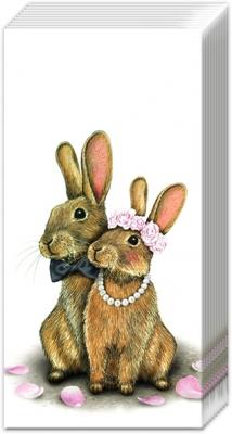 Taschentücher EDDIE IN LOVE,  Tiere,  Everyday,  bedruckte papiertaschentücher,  Hasen