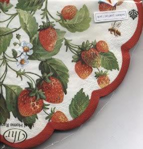 12 Servietten - Rund - 34 cm FRESH STRAWBERRIES white pearl          , servietten,  Erdbeeren