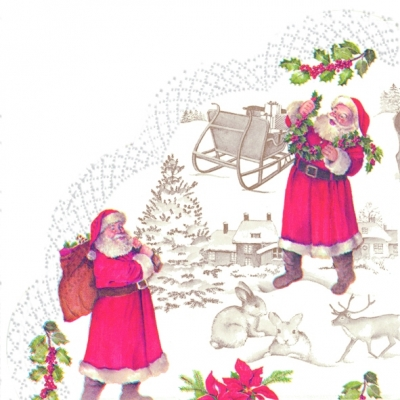 Servietten - Rund WELCOME SANTA, servietten,  Weihnachtsmann