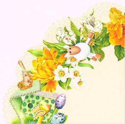 Servietten - Rund DAFFODIL WREATH cream - 3-lagig