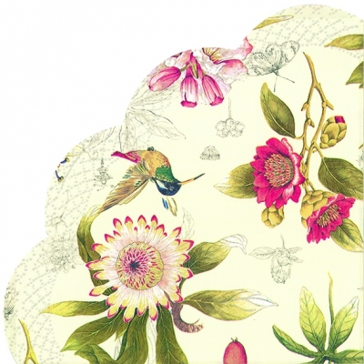 Servietten - Rund HUMMINGBIRD AND BLOSSOMS cream, servietten,  Blumen,  Kolibri