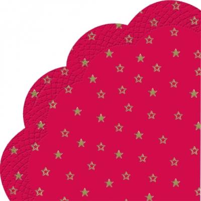 Servietten - Rund LITTLE STARS red gold, servietten,  Sterne,  rot