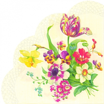 Servietten - Rund WELCOME SPRING cream, servietten,  Narzissen,  Tulpen