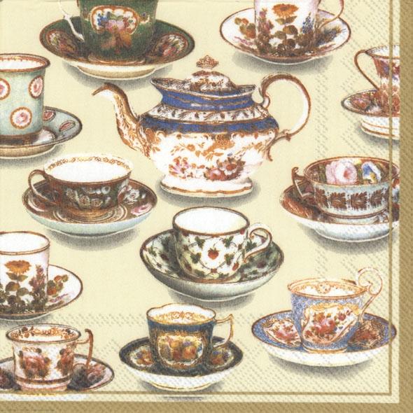 Servietten / Kaffee - Tee,  Getränke Kaffee / Tee,  Sonstiges - Porzellanmotive,  Everyday,  lunchservietten,  Kaffeetasse,  Kaffeekanne