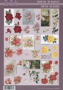 3D Bogen Buch Kleine Motive, 216-Abbildungen - Format A4,  Blumen - Rosen,  3D Bogen,  Rosen