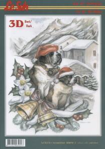 3D Bogen Buch Weihnachten (St. Bernardino) - Format A4, Tiere - Hunde,  Weihnachten - Glocken,  Winter - Schnee,  3D Bogen,  Schnee,  Hunde,  Glocken