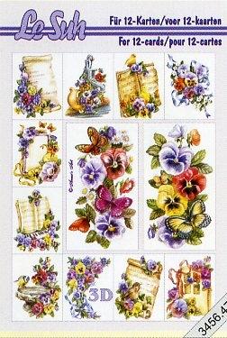 3D Bogen Buch Veilchen - Format A5,  Blumen - Stiefmütterchen,  Le Suh,  3D Bogen,  Stiefmütterchen
