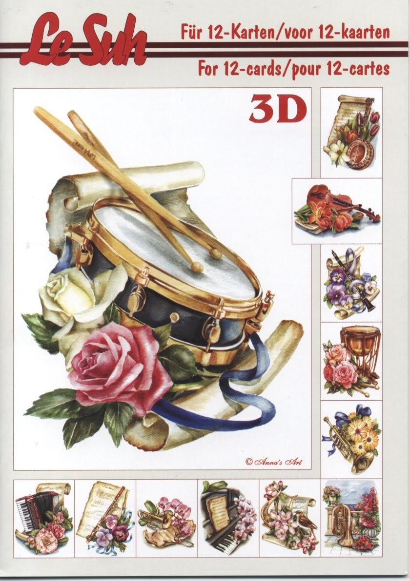 3D Bogen Buch Musikinstrumente - Format A5,  Blumen -  Sonstige,  3D Bogen