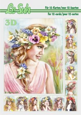 3D Bogen Buch Blumenmädchen Format A5, Blumen -  Sonstige,  Menschen - Personen,  Le Suh,  Frühjahr,  3D Bogen,  Frau,  Mädchen,  Blumen