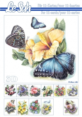 Le Suh b.v., Blumen -  Sonstige,  Tiere - Schmetterlinge,  Le Suh,  Frühjahr,  3D Bogen,  Schmetterlinge
