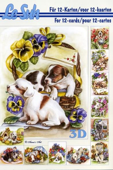 3D Bogen Buch  - Format A5,  Tiere -  Sonstige,  Le Suh,  3D Bogen,  Tiere,  Hunde,  Blumen,  Hunde im Korb