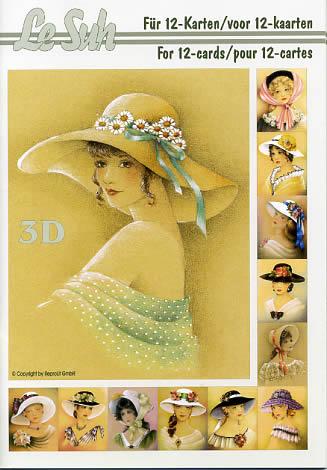 3D Bogen Buch Damen mit Hut - Format A5,  Le Suh,  3D Bogen,  Damen mit Hut,  Romantik