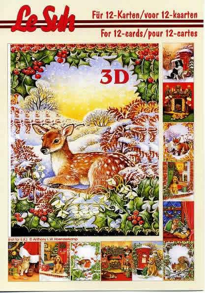 3D Bogen Buch  - Format A5,  Weihnachten,  Le Suh,  3D Bogen,  Hund,  Katze,  Kamin