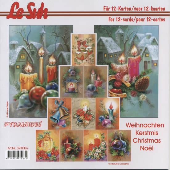 3D Bogen Buch Pyramides - 21 x 21 cm, Weihnachten - Kerzen,  Weihnachten - Baumschmuck,  Winter - Schnee,  3D Bogen,  Kerzen,  Kugeln,  Schnee,  Zapfen