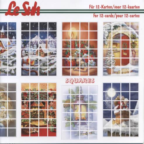3D Bogen Buch Squares: Weihnachten - 21 x 21 cm, Weihnachten - Weihnachtsmann,  Winter - Schnee,  3D Bogen,  Laterne,  Kerzen,  Weihnachtsstern,  Schnee