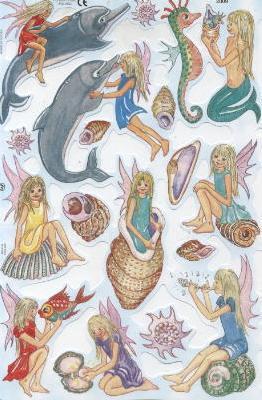 1 Bogen Poesiebilder - 15 x 23 cm Elfe + Delphin,  Regionen - Strand / Meer - Muscheln,  Poesiebilder,  feen,  Muscheln,  Delphin,  Elfen
