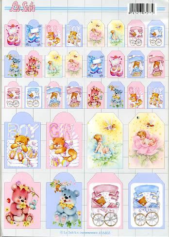 Geschenkanhänger  - Format A4,  3D Bogen,  baby,  geburt,  teddy,  bären