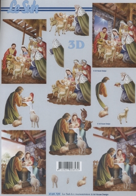 3D Bogen Weihnachtskrippe - Format A4,  Weihnachten,  Le Suh,  3D Bogen,  Maria und Josef,  Jesus,  Krippe