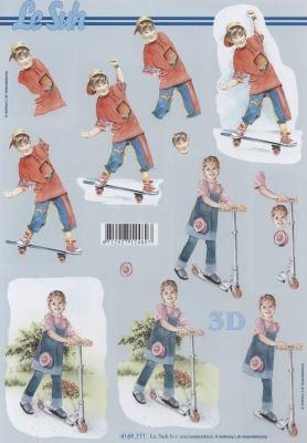 3D Bogen Kinder mit Roller+Skatboard - Format A4,  Menschen - Kinder,  Le Suh,  3D Bogen,  Mädchen,  Jungen