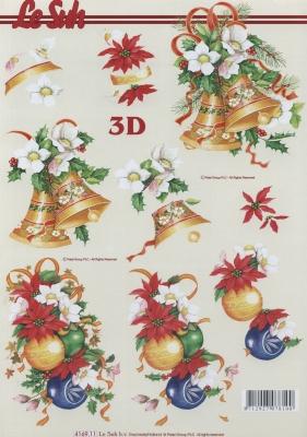 3D Bogen Format A4 Weihnachtsglocken + Kugeln,  Weihnachten - Weihnachtsstern,  Weihnachten - Glocken,  3D Bogen,  Weihnachtsstern,  Kugeln,  Glocken