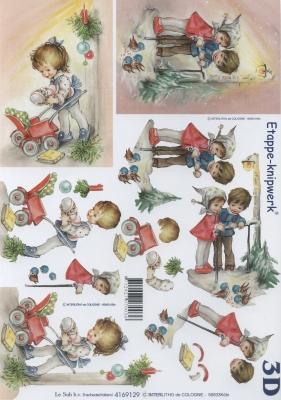 3D Bogen Weihn. Kinder III - Format A4,  Menschen - Kinder,  3D Bogen,  Kinder,  Weihnachtsbaum
