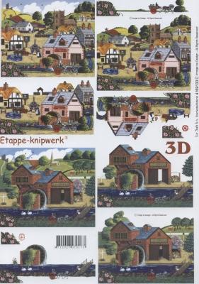 3D Bogen Format A4,  Regionen,  3D Bogen,  Häuser