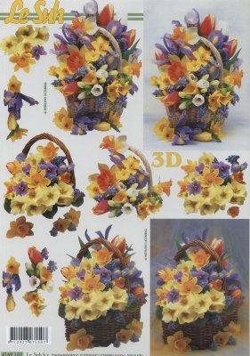 3D Bogen Format A4, Blumen - Tulpen,  Blumen - Osterglocken,  3D Bogen,  Narzissen,  Tulpen
