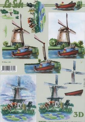 3D Bogen Mühle - Format A4,  Regionen - Wald / Wiesen,  Tiere - Kühe,  3D Bogen,  Boote,  Windmühle