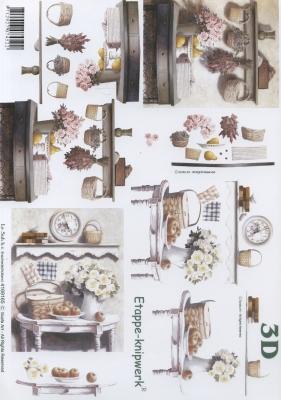 3D Bogen Küchentisch - Format A4,  Blumen -  Sonstige,  3D Bogen,  Blumen
