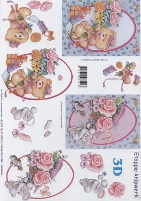 3D Bogen Format A4, Spielsachen - Stofftiere,  Blumen - Rosen,  Le Suh,  Sommer,  3D Bogen,  Teddybär,  Rosen