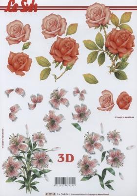 3D Bogen Rosen + Lilien Format A4,  Blumen - Rosen,  Le Suh,  Sommer,  3D Bogen,  Rosen,  Lilien