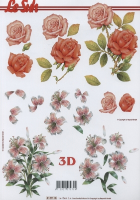 3D Bogen Rosen und Lilien - Format A4,  Blumen - Rosen,  Le Suh,  Sommer,  3D Bogen,  Rosen,  Lilien