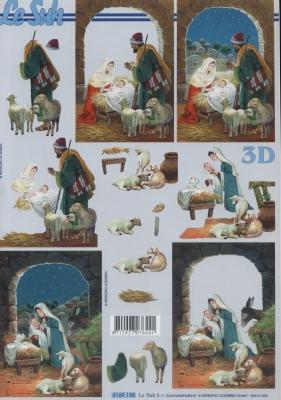 3D Bogen Format A4,  Le Suh,  Weihnachten,  3D Bogen,  Maria und Josef,  Jesus,  Krippe
