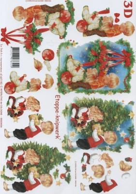 3D Bogen Format A4, Menschen - Kinder,  Weihnachten - Weihnachtsbaum,  Le Suh,  Weihnachten,  3D Bogen,  Weihnachtsbaum,  Kinder