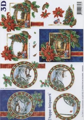 3D Bogen Weihnachtskamin - Format A4,  Le Suh,  Weihnachten,  3D Bogen,  Winterlandschaft,  Weihnachtsbaum