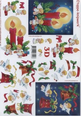 3D Bogen Format A4 - Kerzen und Glocken, Weihnachten - Kerzen,  Weihnachten - Glocken,  Le Suh,  Weihnachten,  3D Bogen,  Kerzen,  Engel,  Glocken