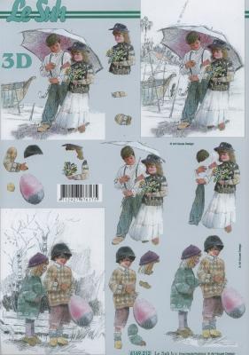 3D Bogen Format A4,  Menschen - Kinder,  Winter,  3D Bogen,  Kinder